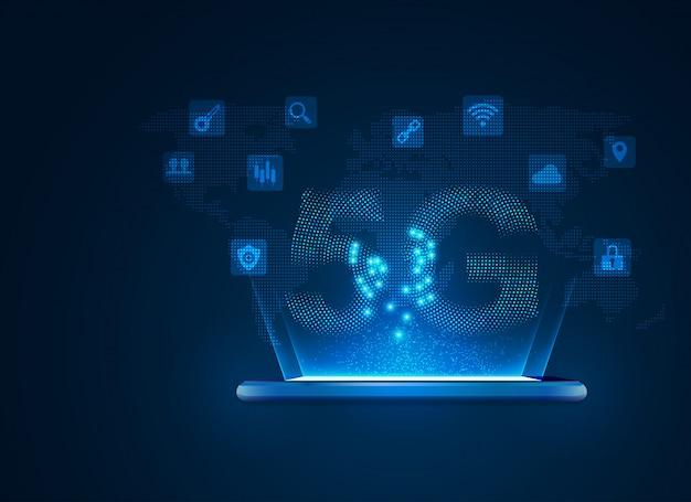 Tecnologia de comunicação móvel 5g Vetor Premium