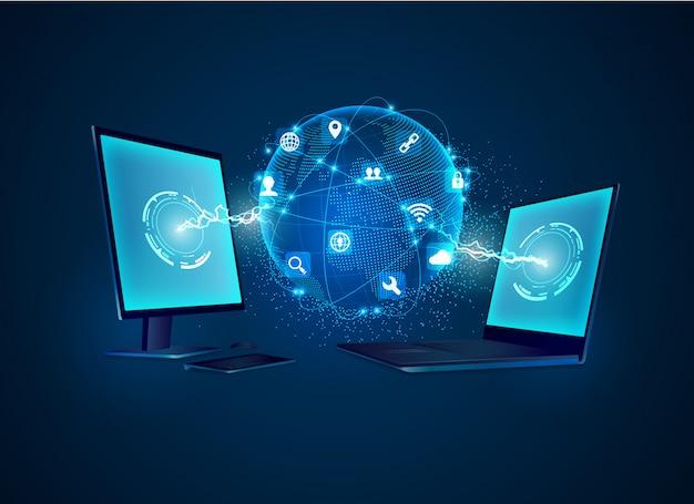 Tecnologia de comunicação Vetor Premium