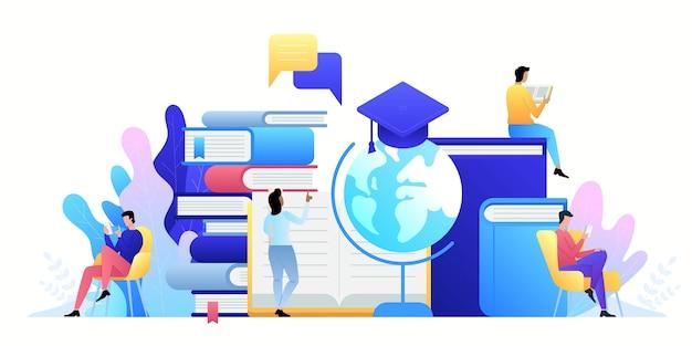 Tecnologia de conceito online de educação. e-books, cursos de internet a Vetor Premium