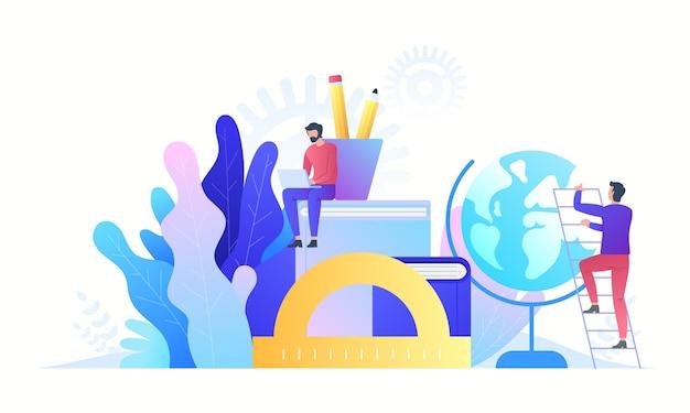 Tecnologia de conceito online de educação. e-books, cursos pela internet e processo de graduação. ilustração em grande estilo. Vetor Premium
