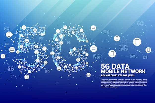 Tecnologia de dados 5g do ícone do dispositivo Vetor Premium
