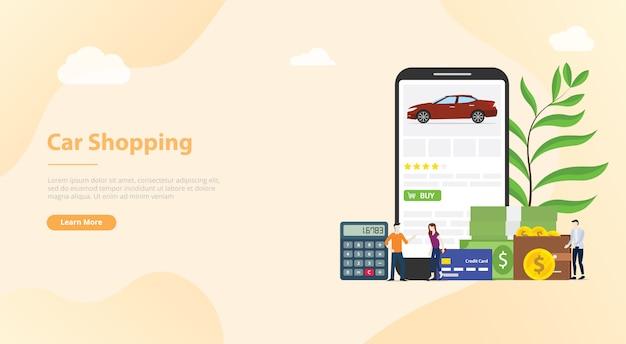 Tecnologia de e-commerce de compras de carros on-line para banner de modelo de site ou página inicial de destino Vetor Premium
