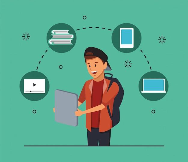 Tecnologia de educação on-line com o aluno e gadgets Vetor Premium