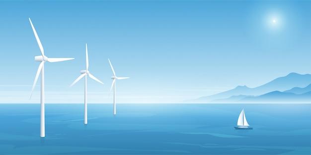 Tecnologia de energia eólica. ilustração vetorial Vetor Premium