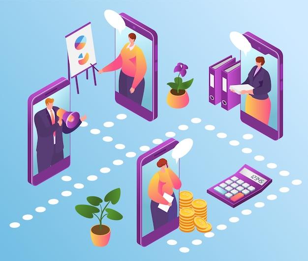 Tecnologia de escritório online, gestão de negócios na internet. homem de negócios usando o aplicativo financeiro no smartphone e se conectando com a equipe de especialistas em negócios online. comunicação no trabalho. Vetor Premium