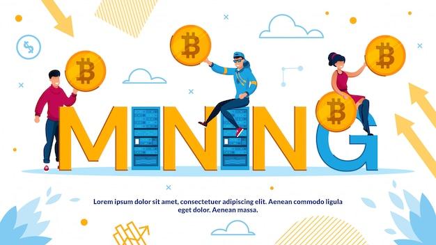 Tecnologia de mineração de criptomoeda e bockchain Vetor Premium