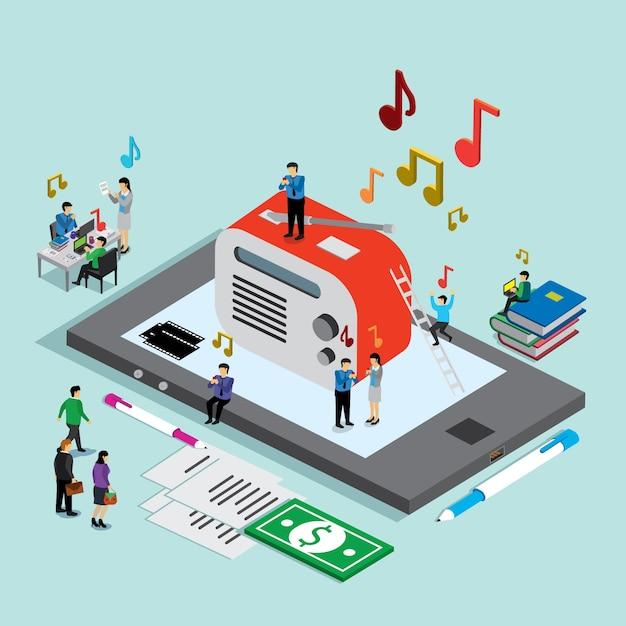 Tecnologia de música no celular Vetor Premium