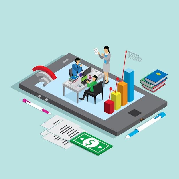 Tecnologia de negócios para empresários Vetor Premium