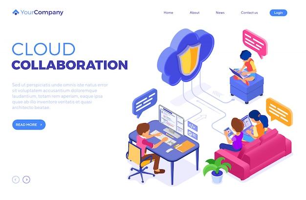 Tecnologia de nuvem educacional de colaboração online. modelo de página de destino Vetor Premium
