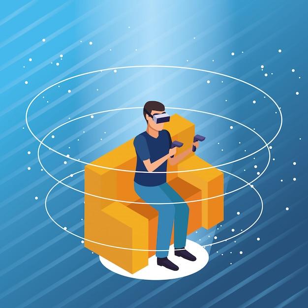 Tecnologia de óculos de realidade virtual Vetor grátis