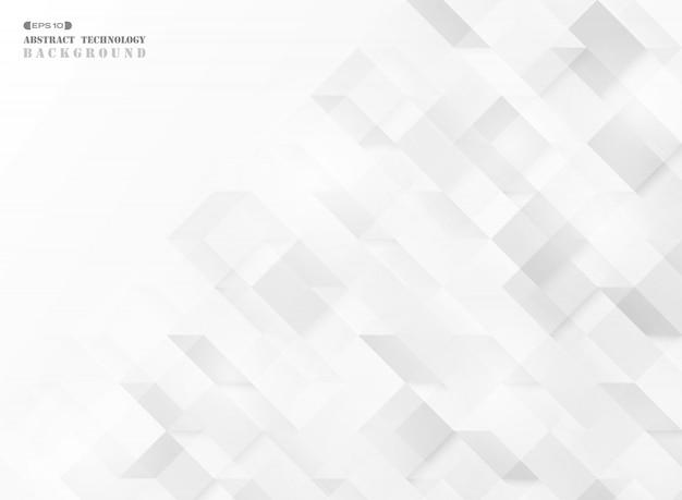 Tecnologia de padrão abstrato quadrado cubo geométrico. Vetor Premium