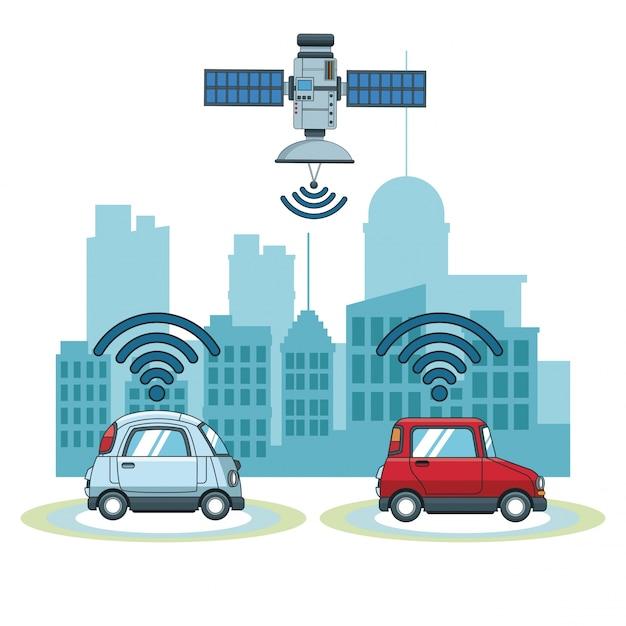 Tecnologia de rastreamento de carro gps Vetor Premium