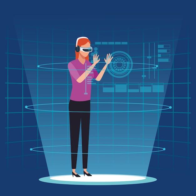 Tecnologia de realidade virtual Vetor Premium