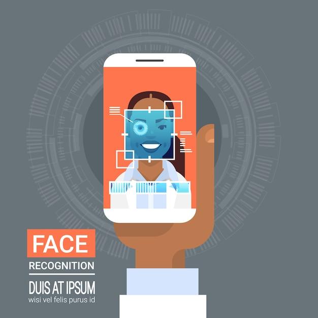Tecnologia de reconhecimento de rosto inteligente de digitalização do telefone retina de olho da mulher do americano africano biométrico iden Vetor Premium