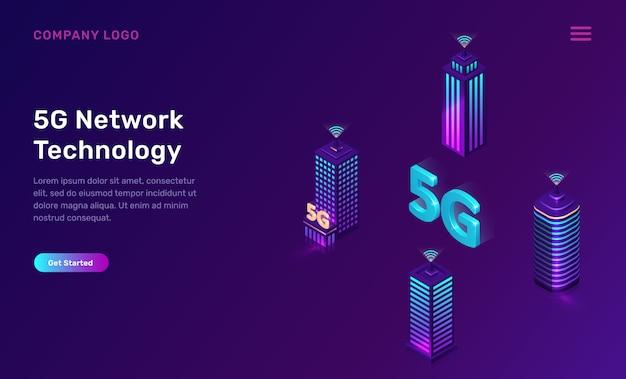 Tecnologia de rede 5g, conceito isométrico Vetor grátis