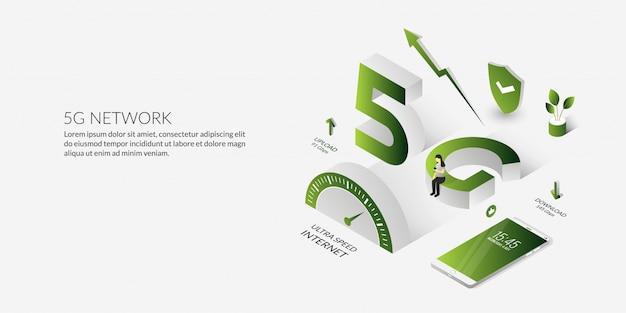 Tecnologia de rede 5g isométrica a internet de alta velocidade Vetor Premium