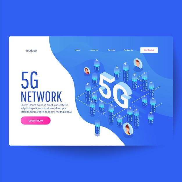 Tecnologia de rede 5g, isométrica de cidade inteligente, edifícios altos com internet sem fio Vetor Premium