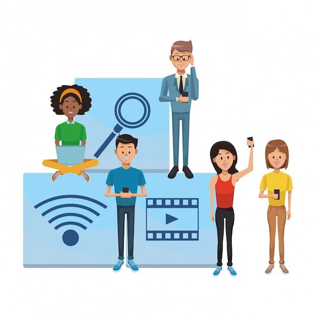 Tecnologia de rede social Vetor Premium