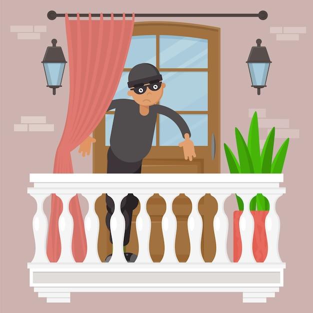 Tecnologia de roubo, pessoa do sexo masculino na ilustração de máscara preta. gângster de ladrão no exterior da casa de varanda, quebra de bloqueio urbano. Vetor Premium