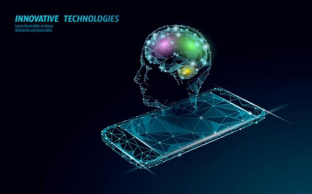 Tecnologia de serviço de reconhecimento de voz de assistente virtual. suporte de robô de inteligência artificial ai. cérebro do chatbot na ilustração do sistema do smartphone. Vetor Premium