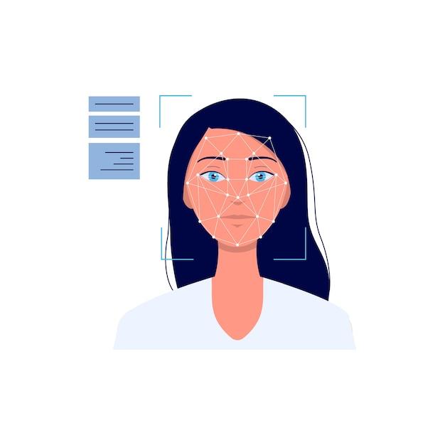 Tecnologia de sistema de reconhecimento facial com ilustração dos desenhos animados de rosto de mulher em fundo branco. software biométrico de autenticação e segurança. Vetor Premium