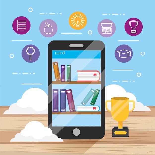 Tecnologia de smartphone elearning com livros educativos Vetor Premium