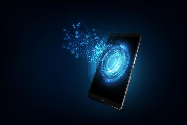 Tecnologia de telefone inteligente, rede de conexão Vetor Premium
