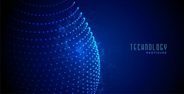 Tecnologia digital abstrato azul brilhante partículas fundo Vetor grátis