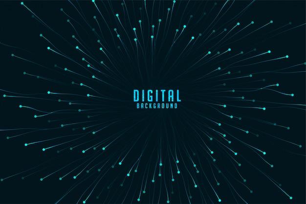Tecnologia digital com explosão de partículas de zoom Vetor grátis