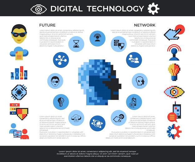 Tecnologia digital de pixel art e conjunto de ícones de rede Vetor Premium