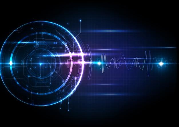 Tecnologia digital futurista leve com circuito Vetor Premium