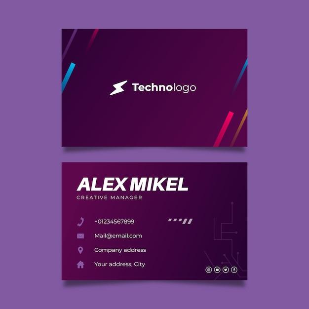 Tecnologia e futuro cartão de visita dupla-face Vetor Premium