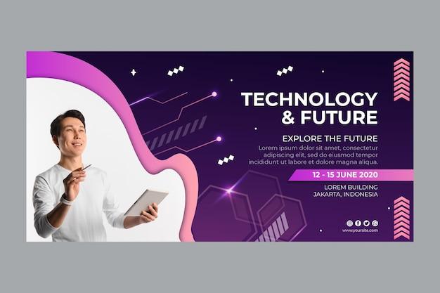 Tecnologia e modelo de banner futuro Vetor grátis
