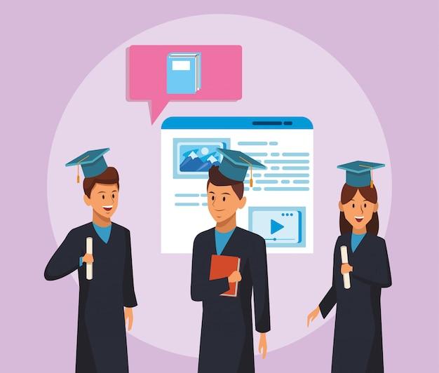Tecnologia educacional on-line com alunos e página da web Vetor Premium
