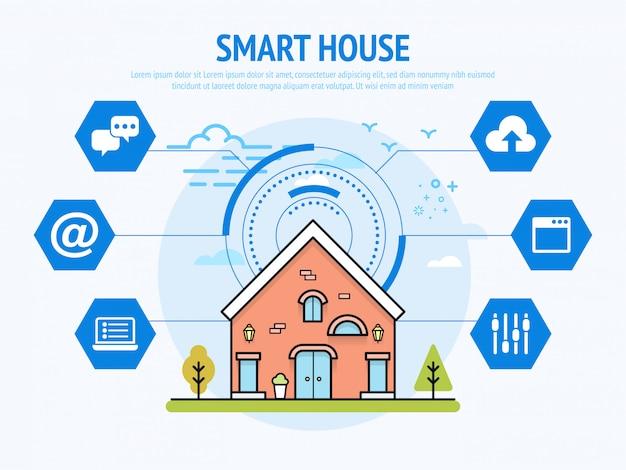 Tecnologia esperta da casa do conceito da domótica Vetor Premium