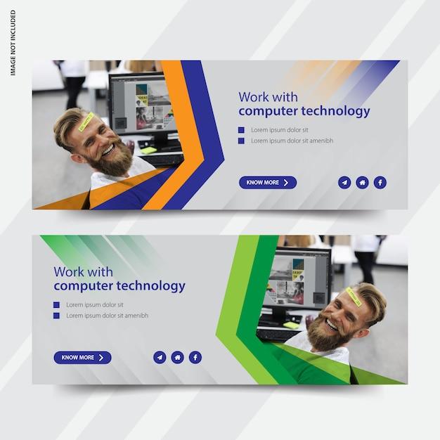 Tecnologia-facebook-capa-mídia-social-post-banner Vetor Premium