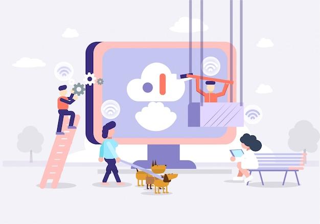 Tecnologia futura de ilustração e escritório inteligente de ciência Vetor Premium