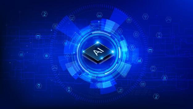 Tecnologia futurista cpu chipset e iot em fundo azul escuro Vetor Premium