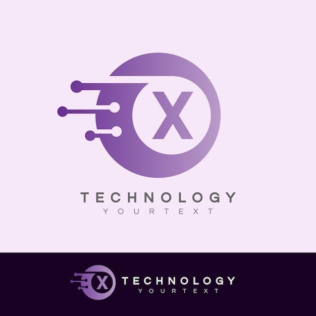 Tecnologia inicial design de logotipo da letra x Vetor Premium