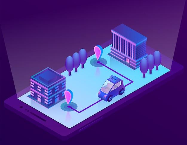 Tecnologia isométrica do carro 3d inteligente para smartphone, app para o dispositivo. navegação sem fio Vetor grátis
