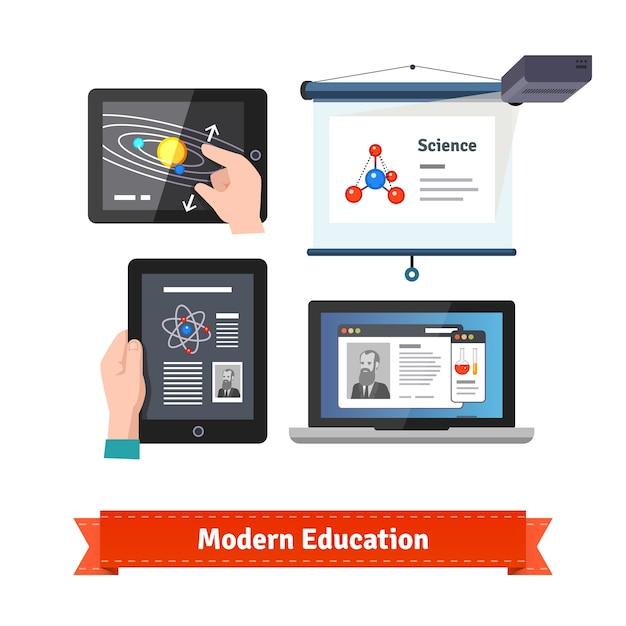 Tecnologia moderna em conjunto de ícones de educação plana Vetor grátis