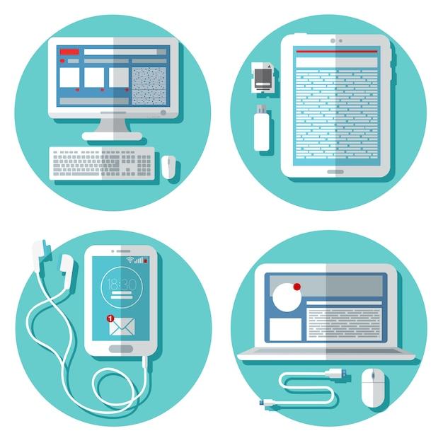 Tecnologia moderna: laptop, computador, smartphone, tablet e acessórios. conjunto de elementos. ilustração vetorial Vetor Premium