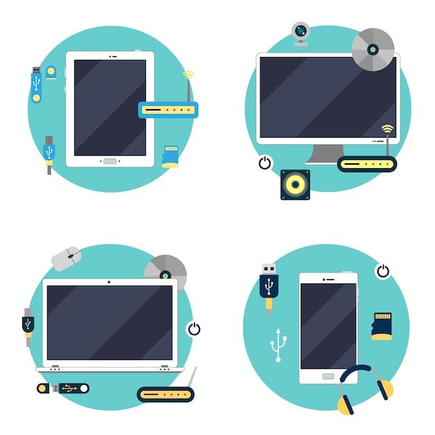 Tecnologia moderna: laptop, computador, tablet e smartphone. conjunto de elementos. ilustração vetorial Vetor Premium