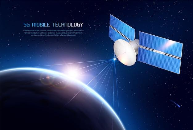 Tecnologia móvel realista com satélite de comunicações no espaço, enviando sinal para diferentes pontos da terra Vetor grátis