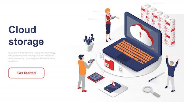 Tecnologia ou armazenamento isométrico na nuvem da página de destino Vetor Premium