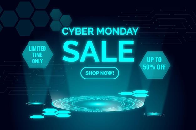 Tecnologia realista cibernética segunda-feira Vetor grátis