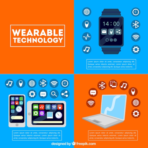 Tecnologia template wearable Vetor grátis