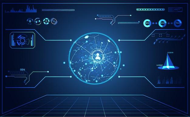 Tecnologia ui futurista mapa hud interface holograma comunicação Vetor Premium