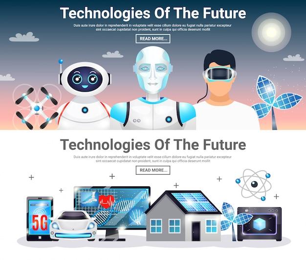 Tecnologias de futuros banners horizontais Vetor grátis