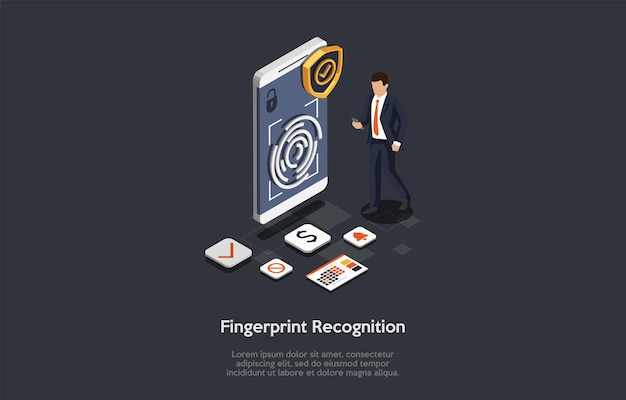Tecnologias de inovação, conceito de reconhecimento de dedo. homem usa o reconhecimento de dedo para acessar as contas bancárias, calendário, despertador e outras funções no smartphone. Vetor Premium